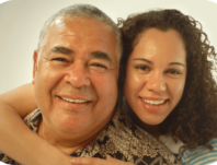 A caregiver with her dad